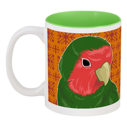 """Кружка цветная внутри """"Tea Time"""" - узоры, работа, попугай, чай, свитер, tea, неразлучник"""
