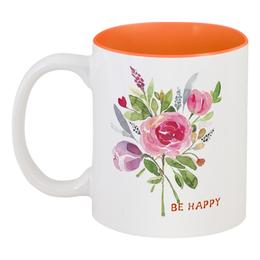 """Кружка цветная внутри """"Летний букет"""" - цветы, роза, be happy, букет, тюльпан"""