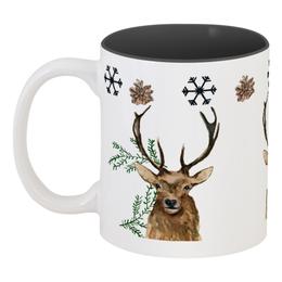 """Кружка цветная внутри """"чайное тепло"""" - зима, новыйгод, лось"""