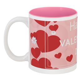 """Кружка цветная внутри """"Сердечки"""" - любовь, день святого валентина, 14 февраля, сердечки, день влюбленных"""