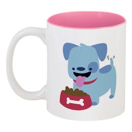 """Кружка цветная внутри """"Смешная собака"""" - щенок, собака, 2018, год собаки, косточка"""