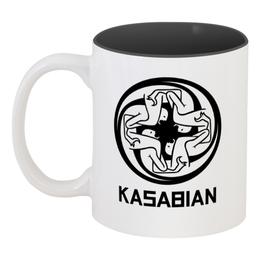 """Кружка цветная внутри """"Kasabian"""" - музыка, kasabian, касабиан, рок группы, касейбиан"""