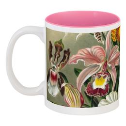 """Кружка цветная внутри """"Орхидеи (Orchideae, Ernst Haeckel)"""" - картина, орхидея, день матери, красота форм в природе, эрнст геккель"""