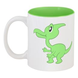 """Кружка цветная внутри """"Динозаврик"""" - динозавр, животное, динозаврик, динозавры"""