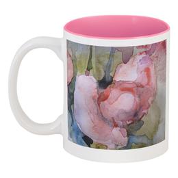 """Кружка цветная внутри """"Ранункулюсы. Бутоны"""" - цветок, розовый, оригинальный, нежный, картина акварелью"""