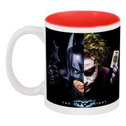 """Кружка цветная внутри """"Бэтмен Джокер BATMAN  JOKER"""" - стиль, маска, игральные карты, летучая мышь"""