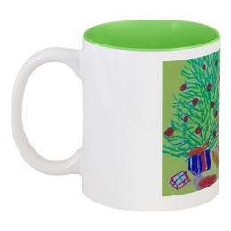 """Кружка цветная внутри """"Новогодний мишка"""" - новый год, мишка, подарок, елка"""