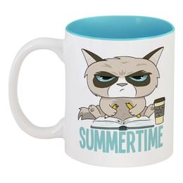 """Кружка цветная внутри """"Угрюмый кот"""" - кот, кошка, лето, summertime, летнее время"""