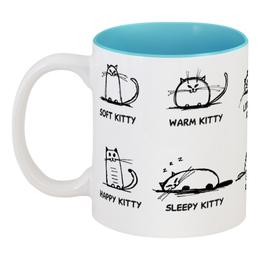 "Кружка цветная внутри ""Без названия"" - the big bang theory, теория большого взрыва, сериалы, песня шелдона soft kitty warm kitty, кошки"