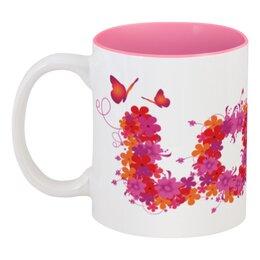 """Кружка цветная внутри """"Любовь"""" - любовь, бабочки, цветы"""