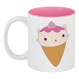 """Кружка цветная внутри """"Котик - мороженое"""" - кот, кошка, котёнок, мороженое"""