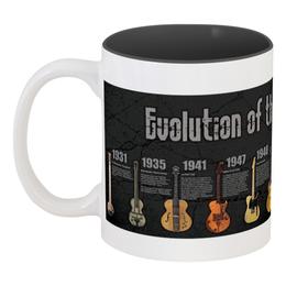 "Кружка цветная внутри ""эволюция гитар"" - music, гитара, rock n roll, электрогитара, evolution, guitars, electric guitar"