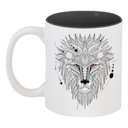 """Кружка цветная внутри """"Лев ( Lion)"""" - лев, орнамент, мандала, абстрактный, геометрический"""