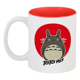 """Кружка цветная внутри """"Мой сосед Тоторо (My Neighbor Totoro)"""" - тоторо, аниме, мой сосед тоторо, totoro, my neighbor totoro"""
