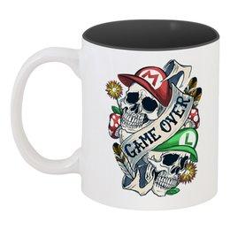 """Кружка цветная внутри """"Марио"""" - череп, марио, mario, game over"""