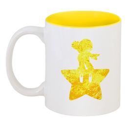"""Кружка цветная внутри """"Марио ( mario )"""" - звезда, марио, mario"""