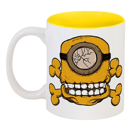 "Кружка цветная внутри ""Skull Minion"" - skull, череп, миньоны, миньон, minion"