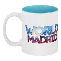 "Кружка цветная внутри """"DIFFERENT WORLD"": Madrid"" - мир, города, world, madrid, мадрид"