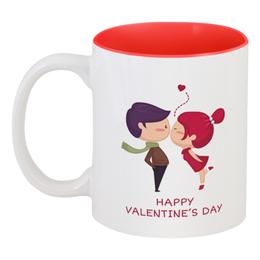 """Кружка цветная внутри """"День влюблённых"""" - любовь, день святого валентина, 14 февраля, пары, день влюблённых"""