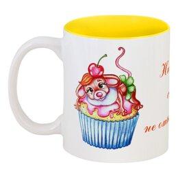 """Кружка цветная внутри """"Ни в чем себе не отказывай!"""" - диета, мышка, кекс, сладкое, пирожное"""