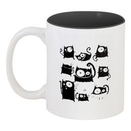 """Кружка цветная внутри """"Кошки 5"""" - рисунок, кошки, графика, чёрный кот"""