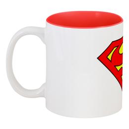 """Кружка цветная внутри """"Superman"""" - супермен, комиксы, superman, dc"""