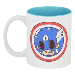 """Кружка цветная внутри """"Капитан Америка"""" - капитан америка, captain america"""