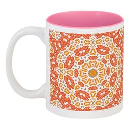 """Кружка цветная внутри """" sunny"""" - узор, розовый, абстракция, фигуры"""