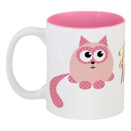 """Кружка цветная внутри """"Котик"""" - коты, день св валентина"""