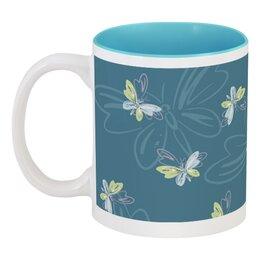 """Кружка цветная внутри """"Бабочки"""" - бабочка, голубой, желтый, природа, сний"""