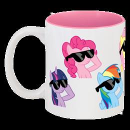 """Кружка цветная внутри """"My Little Pony"""" - в подарок, pony, my little pony, пони"""