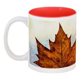 """Кружка цветная внутри """"Осень"""" - осень, подарок, золотая осень, осенняя пора, тёплая осень"""