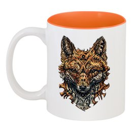 "Кружка цветная внутри ""Голова лисы"" - арт, fox, лиса, drawing, complicated"