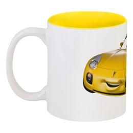 """Кружка цветная внутри """"Yellow Car"""" - машина, auto, автомобиль, car, жёлтое авто"""