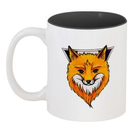 "Кружка цветная внутри ""Лисичка"" - рисунок, графика, fox, лиса"