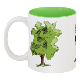 """Кружка цветная внутри """"Волшебный лес"""" - рисунок, деревья, иллюстрация, скетч"""