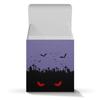 "Коробка для кружек ""Взгляд оттуда"" - хэллоуин, рисунок, взгляд, летучие мыши, кладбище"