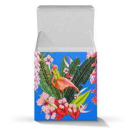 "Подарочная коробка-куб ""Фламинго"" - фламинго, птица, цветы"