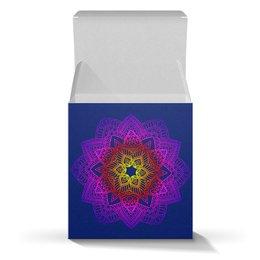 "Коробка для кружек ""Горящая мандала на синем"" - праздник, орнамент, подарок, мандала, мехенди"