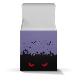 "Коробка для кружек ""Взгляд оттуда"" - рисунок, взгляд, хэллоуин, летучие мыши, кладбище"