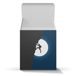 "Коробка для кружек ""Скалолаз"" - ночь, луна, минимализм, скалолаз"