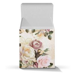 """Подарочная коробка-куб """"Розовые розы"""" - цветы, розы"""