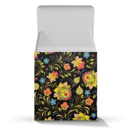 "Подарочная коробка-куб ""Яркая Хохлома"" - цветы, хохлома"