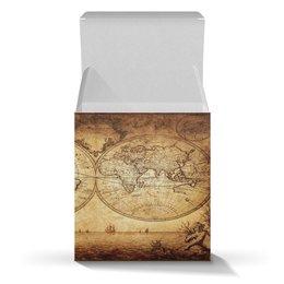 """Коробка для кружек """"Старинная карта мира"""" - глобус, карта мира, стариная карта мира, винтажная карта мира"""