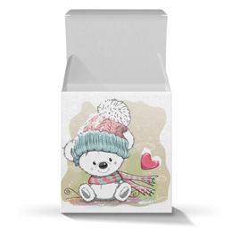 """Подарочная коробка-куб """"Медвежонок"""" - рисунок, медвежонок, мультяшка, юмор, зима"""
