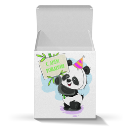 """Коробка для кружек """"С днём рождения"""" - панда, медвежонок, праздничный, день рождение, поздравительный"""