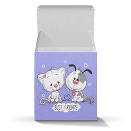 """Подарочная коробка-куб """"Друзья"""" - мультяшки, друзья, рисунок, щенок, котёнок"""