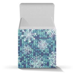 """Коробка для кружек """"Вязаный паттерн с снежинками"""" - новый год, снежинки, вязка"""