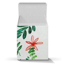 """Коробка для кружек """"Цветы на белом"""" - цветы, листья, весна, счастье, красные цветы"""