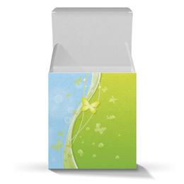 """Подарочная коробка-куб """"Летний мотив"""" - бабочки, лето, небо, трава, мыльные пузыри"""